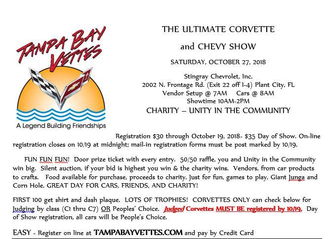 Ultimate Corvette Chevy Show OCT Th Plant City Fl - Plant city car show 2018